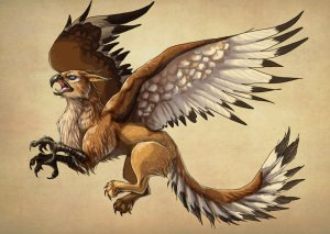 red_female_gryphon_warrior_by_fiszike-d7mh71r