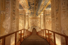 LUXOR, EGYPT - FEBRUARY 5 2016 - Unique shot of the Ramesses VI tomb in Valley of the Kings. Obtaining permission for taking images there is painstaking but worth it.; Shutterstock ID 467883095; Your name (First / Last): Lauren Keith; GL account no.: 65050; Netsuite department name: Online Editorial; Full Product or Project name including edition: Southern Egypt temples article